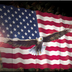 The Tile Mural Store (USA) - Tile Mural - American Eagle & Flag - Kitchen Backsplash Ideas - This beautiful artwork by Laurie Snow Hein has been digitally reproduced for tiles and depicts a nice patriotic scene with the US Flag and the Bald Eagle.  Images of birds of prey on tiles are great to use as a part of your kitchen backsplash tile project or your tub and shower surround bathroom tile project. Pictures of eagles on tile and images of owls on tiles make a great kitchen backsplash idea and are excellent to use in the bathroom too for your shower tile project. Consider a tile mural of hawks and eagles for any room in your home where you want to add interest to a plain tile wall area.