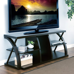 Furniture of America - Furniture of America Princeton Dark Espresso 60 inch TV Stand - Give your big-screen television the showcase it deserves with this large 60-inch TV stand from Princeton. This stand features four compartments for DVD players, game consoles, and other devices, and the minimalistic design increases ventilation.
