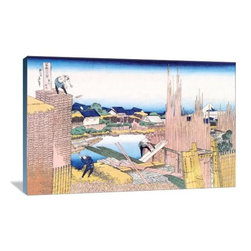 """Artsy Canvas - Building In The Village 36"""" X 24"""" Gallery Wrapped Canvas Wall Art - Building in the Village - Katsushika Hokusai (1760 beautifully represented on 36"""" x 24"""" high-quality, gallery wrapped canvas wall art"""