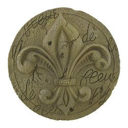 Manual - Tan Fleur de Lis Stepping Stone Wall Plaque - This neutrally colored fleur de lis wall plaque is a lovely accent to your home, porch, patio, or garden. Made of cold cast resin, it has the look of weathered stone, without the weight, so you can safely hang it on any wall. The plaque measures 10 3/4 inches in diameter and easily mounts to the wall with a single nail or screw. It is suitable for indoor/outdoor use, and is sure to be admired.