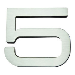 Atlas - Paragon House Number 5 - PGN5-SS - Manufacturer SKU: PGN5-SS. Stainless steel surface. Weather resistant. Peel-n-stick recycled backing. Lacquered for durability. Dense polyfiber backing. Projection: 0.75 in.. Made from metal. 4 in. L x 4.75 in. W