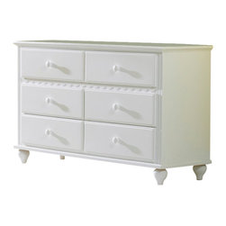 Hillsdale Furniture - Hillsdale Lauren Youth Dresser - The whimsical yet traditional styling of the Lauren post bedroom group makes it a delightfully timeless addition to any young girl's room. The white finish coordinates with any decor you might choose and the scalloped design carries through each-piece. The drawers have French dovetail drawer fronts, English dovetail drawer backs and wood on wood drawer glides.
