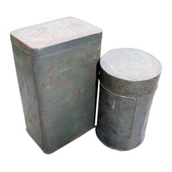 Antique Tins - This set includes one Hershey's Cocoa and one Dr. Fletcher's baking powder tin.