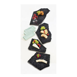 Cal Mil - 15W x 12D x .5H Black Ice X Stone Trays 1 Ct - Showcase your baked goods with these x stone trays that come in different shapes and sizes. Choose the shape and size of your choice and give your food presentation the splash of style it needs The unique and modern stoned style will complement any food decor at your hotel restaurant or catered event.