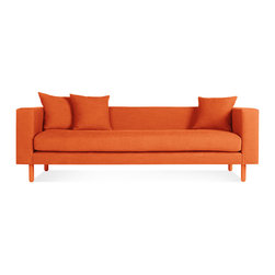 Blu Dot - Mono Sofa, Orange - Streamline simplicity. One cushion, one color, three throw pillows – all dreamy. Solid wood legs are painted to match the upholstery. Available in two monochromatic finishes