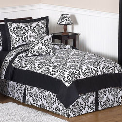 Sweet Jojo Designs - Sweet Jojo Designs Girls 'Isabella' 3-piece Full/Queen Comforter Set - This three-piece 'Isabella' bedding set by Sweet Jojo Designs creates a stunning boutique setting for your young fashionista. The comforter and shams has a gorgeous damask print and rich solid black cotton that will set your child's room in high style.