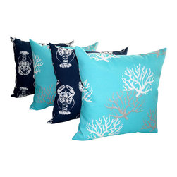 Land of Pillows - Lobster Oxford Navy and Isadella Coral Ocean Nautical Outdoor Throw Pillow Set, - Fabric Designer: Premier Prints