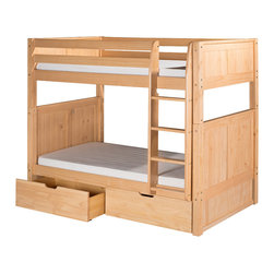 "Camaflexi - Bunk Bed with Drawers and Panel Headboard - Natural Finish - When your family is growing and your space is not, Camaflexi's ultra durable Bunk Bed collection offers the perfect solution. Constructed of solid wood, the upper bunk features front and rear safety guard rails. Both beds include slat roll foundations reinforced with our unique, extra sturdy, center rail support system. The attached extra wide, grooved step Ladder and safety guard rails are interchangeable so you can position the ladder where you need it. All of our Bunk Beds are built to meet and exceed all government and industry safety standards for your ease of mind and to ensure longevity. With our underbed drawers, you won't have to worry about storage space. Our modesty panels are included to complete the elegant look. The timeless Panel style, with our bright, ""child-safe"" multi-step, protective white finish, will complement any room decor. When needed the bunk can be separated into two individual twin beds. Flexibility is what we are all about! The Camaflexi system offers the best in sturdy, eco-friendly and healthy furniture for your growing child's needs.; The attached ladder allows easy access to Storage Drawers or Under Bed Trundle! (Drawers and Trundle Purchased Separately.); Featured in the classy Panel Style to compliment your room decor.; Child-Safe protective finish compliant with US Federal Hazardous Substances Act.; Both beds include a slat roll foundation, with our unique extra sturdy center rail support system for added longevity.; Features our unique extra deep grooved steps on ladder for added safety and comfort when climbing.; Meets and exceeds all ASTM and U.S. Government safety standards for Bunk Beds.; Covered by our One Year, Peace of Mind warranty, covering manufacturing related defects.; Constructed of 100%, all natural, solid wood.; Verifiable sustainable wood source make it both Eco friendly and healthy.; Under bed clearance from bottom of bed rail is 11 1/2"".; Clearance between top and bottom bed is 36"".; Dimensions of Underbed Drawers: 11 1/2"" x 74 1/2"" x 20 1/2"".; Clearance between post and ladder is 59"".; Takes standard twin size mattress. Mattress not included.; Child-Safe protective finish compliant with US Federal Hazardous Substances Act..; Weight: 216 lbs; Dimensions: 69 1/2""H x 80 1/2""W x 46""D"