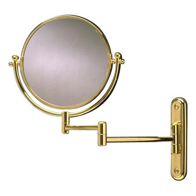 Taymor - Solid Brass Swing-Arm Rotating Mirror, Polished Brass - This creative and convenient swing arm mirror is perfect for use in personal bathrooms. Apply make up and shave without having to hold your mirror at the same time! 4X magnification on one side of the mirror.