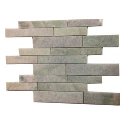 """Marbleville - Ming Green Large Stick Random Pattern Polished Marble Mosaic in 12"""" x 12"""" Sheet - Premium Grade Ming Green Large Stick Random Pattern Polished Finish Mesh-Mounted Marble Mosaic is a splendid Tile to add to your decor. Its aesthetically pleasing look can add great value to any ambience. This Mosaic Tile is made from selected natural stone material. The tile is manufactured to high standard, each tile is hand selected to ensure quality. It is perfect for any interior projects such as kitchen backsplash, bathroom flooring, shower surround, dining room, entryway, corridor, balcony, spa, pool, etc."""