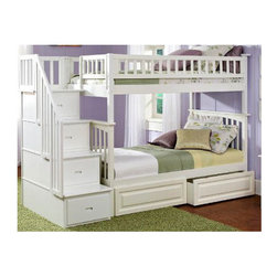 Atlantic Furniture - Columbia Staircase Bunk Bed with Raised Panel Drawers - This Columbia Staircase Bunk Bed with Raised Panel Drawers by Atlantic Furniture will surely become a favorite sleepy time fort and you can feel good about the quality and value. It has classic styling that is constructed in solid eco-friendly hard rubber wood. The Columbia Staircase Bunk Bed with Storage is available in three high build durable finishes  antique walnut, caramel latte or white. Designed to combine ease of use and space efficiency, this bedroom must-have includes two large under bed storage drawers and a staircase with four fully assembled built-in drawers for extra storage. In addition, the stairs with built in handrail are easier to climb then the standard bunk bed ladders, and can be set up at either end of the bed. The under bed drawers run on wheels independently of the bed, so they can be pulled all the way out for easier access. They have a raised panel design. With its 26 steel reinforcement points and two 14 piece slat kits, this bed is as sturdy as they come. It is available in a twin-over-twin size which measures 69 H x 44.375 W x 103 D, or a twin-over-full size which measures 69 H x 58.375 W x 103 D. Both sizes can accommodate up to 400 lbs. The mattresses are not included and are recommended to be no higher than 9. Assembly is required. With so many sleep options the Columbia Staircase Bunk Bed with Raised Panel Drawers creates convenient space in your child's room. Features: -Additional drawers.-High build five step.-Safety by design.-Staircase can be set up at either end of the bunk bed.-Staircase chest comes Fully assembled in two boxes.-Bed accommodates up to a 9.05'' mattress.-Eco friendly.-ASTM and CPSC certified.-Solid hardwood construction.-Mortise and tenon construction.-Durable, non toxic and lead free finish.-Columbia collection.-Collection: Columbia.-Distressed: No.Dimensions: -Twin over Twin dimensions: 69'' H x 44.375'' W x 103'' D.-Twin over Full dimensions: 69'' H x 58.375'' W x 103'' D.-Overall Product Weight: 398 lbs.Warranty: -Manufacturer provides one year warranty.