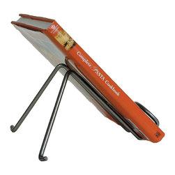 """Enclume - Freestanding Cookbook Holder Hammered Steel - Dimensions: 10""""L x 11""""D x 6""""H"""