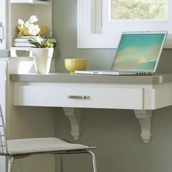 Aristokraft Kneespace Drawer & Art Corbels - Aristokraft creates a family-friendly workspace ideal for paying bills or doing homework.