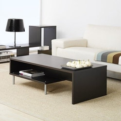 Samuel Coffee Table - A modern and slick coffee table with shelf storage looks so great in a simple room.