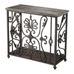 Cyan Design - Cyan Design Estelle Console Table X-76420 - From the Estelle Collection, this Cyan Design console table quickly catches your attention using beautiful scrolled detail work. The rectangular frame is adorned with flourishes and a blend of finishes, which include Distressed Gray and Golden Antiqua. The iron body has been paired with wood at the base and top, completing the look.