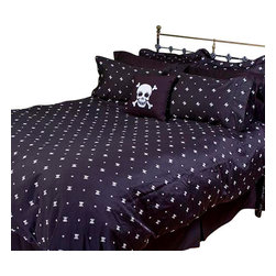 Sin in Linen - Skull and Crossbones Comforters, King - Show your tough side and your sweet side with this skull and crossbones bedding.
