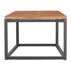 Moe's Home Collection - Moe's Home Mountain Square End Table in Teak - Steel and teak construction. Hollow bottom and sides give a light airy look