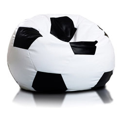 Turbo BeanBags - Beanbag Soccer - L, White and Gold, Filled Bag - The Soccer Ball Beanbag is one of the newest products from Turbo BeanBags. Because of its size it's a comfortable chair to sit for a child or make a great addition to a children's room decor. An amazing gift for kids by its innovative design.