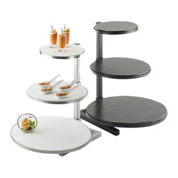 Cal Mil - 15.25W x 17D x 17.5H One by One Round Tiered Riser Black 1 Ct - These Black and Silver tiered risers are a fantastic way of mixing up your food presentation. By choosing both the frame and shelf color these risers can be customized to perfectly suit your own design. Choose from white corian bamboo black slate and midnight vintage for your shelves