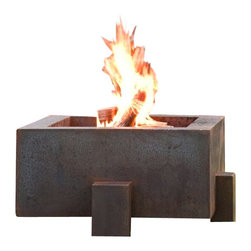 "Home Infatuation - Square Weathering Steel Fire Pit, Square Fire Pit for Logs/Natural Gas - This handcrafted outdoor fire pit is constructed entirely of 11 gauge Cor-Ten steel. Commonly called ""weathering steel"" it will develop a beautifully brown layer of rust when exposed to the weather."