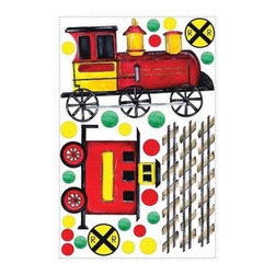 RoomMates Peel & Stick - All Aboard Wall Decal Mega Pack - All aboard! This mega pack allows you to create a custom train track and train on your wall or smooth surface. Children will love mapping out their own track, hooking up the train cars and decorating with the additional red, yellow and green dots. Its so much fun to decorate with our mega packs! And like all roomMates, these decals can be repositioned at any time, so theres no need to worry about sticky residue or damage to your walls. Great for any junior train enthusiast!