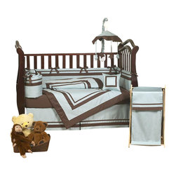 Sweet Jojo Designs - Hotel Blue & Brown 9 Piece Crib Bedding Set - The Hotel - Blue & Brown Crib Bedding Set is just one of the crib bedding sets we offer from Sweet Jojo Designs. The 9-Piece baby bedding set includes a crib blanket, fitted crib sheet, crib bumper pads, crib skirt (dust ruffle), diaper stacker, toy bag, decorative pillow, and two window valances.