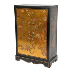 Oriental Furniture - Gold Leaf Five Drawer Chest - This classic Ming style chest features five drawers, beautifully covered in gold leaf, hand-painted with birds and blossoms, and finished with a medium gloss lacquer. At just under three feet tall, this little cabinet is perfect for storing gloves and scarves in the foyer or use as a lamp table next to a sofa or reading chair.