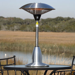 Fire Sense - Table Top Round Stainless Steel Halogen Patio Heater - Our Stainless Steel Table Top Round Halogen Patio Heater introduces a new revolution in outdoor heating. This halogen patio heater runs on regular household electric current and is substantially less expensive to operate than propane patio heaters. This adaptable unit can be used indoors and outdoors and has three heat settings.