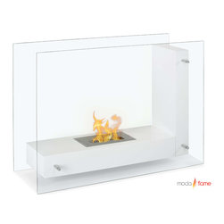 Moda Flame - Moda Flame Arta Contemporary  Indoor Outdoor L Shaped Ethanol Fireplace in White - Arta ethanol contemporary ethanol fireplace is a transparent model visible from any angle in the room. Its double sided tempered glass, connected to an ���L�� shaped steel body, gives the effect of a floating flame. It's design is both simple and imaginative and will enhance any room setting.