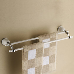 Pura 22 Inch White Double Towel Bar - Add a touch of elegance to your bathroom with this stylish Pura Wall-mounted Double Towel Bar.