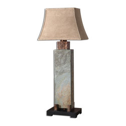 Uttermost - Tall Slate Table Lamp - This Indoor/outdoor Lamp Is Made Of Real Hand Carved Slate With Hammered Copper Details. Due To The Natural Material Being Used Each Piece Will Vary. The Rectangle Bell Shade Has A Brushed Suede, Weather Resistant Textile. Number Of Lights: 1, Shade: Rectangle Bell Shade, Shade Size: Height: 11, Top: 7w X 10d, Bottom: 10w X 15d, Voltage: 110, Wattage: 100w, Bulbs Included: No