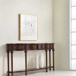 Hooker Furniture - Hooker Furniture 72-inch Hall Console Table 963-85-122 - The long, narrow silhouette of this piece, with its graceful shape, makes this a statement piece for a narrow foyer. It has four drawers and turned legs joined by a shaped shelf.
