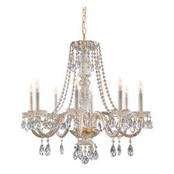 Crystorama Lighting Group - Traditional Crystal Swarovski Strass Crystal Polished Brass Eight-Light Chandeli - Traditional crystal chandeliers are classic timeless and elegant. Crystorama's opulent glass arm chandeliers are nothing short of spectacular. This collection is offered in a variety of crystal grades to fit any budget. For a touch of class order this collection in Gold for traditionalists or in Chrome to match your contemporary or transitional decor.  -Primary Material: Steel  -Crystal: Swarovski Strass  -Chain or Rod Length: 36inches  -Wire Length: 72inches Crystorama Lighting Group - 5048-PB-CL-S