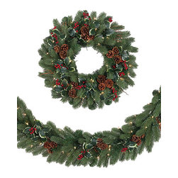 Woodbury Classic Noble Fir Garland - Create a classic holly holiday with our Woodbury Classic Noble Fir Christmas wreath and garland. Clusters of natural brown pine cones and twig sticks peek out from behind the lush fir foliage, while fresh green holly leaves and bright red berries help recreate the natural beauty of the woodlands.