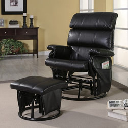 Coaster - Swivel Glider Recliner w Ottoman - Casual style. Rolled arms wraps steel frame. Pillow like seat back with three horizontal cushions. Black leatherette upholstery. Round steel base. Side pockets provides convenient storage for remotes, books, magazines and more. Recliner: 30 in. W x 42.25 in. H. Ottoman: 18 in. L x 17.25 in. W x 14.75 in. H. WarrantySwivel, glide or recline your way to comfort with this versatile collection of recliner with ottoman sets. Coordinating ottomans make each recliner or glider a perfect fit for your living room, media room or den. Regardless of where or how you use them, these fantastic recliner and ottoman sets are sure to bring distinctive style and unsurpassed comfort into your home!