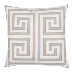 Athena Greek Key Natural Throw Pillow - Timeless design and neutral colors mean this pillow could fit into virtually any design scheme. A pair would look so chic on a black linen settee.