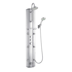 BathAuthority LLC dba Dreamline - Hydrotherapy Shower Column with Shower Accessory Holder - With features like a hand held shower, adjustable body massage sprays, large rain shower head and individual water controls, DreamLine™ shower panels turn your ordinary shower into a home spa. Add other elements of design like shelves, mirrors and accessory compartments, and your shower not only gets a beauty facelift but also becomes more functional. Installation is easy with only hot and cold water connections and fast mounting on wall-attached brackets. Choose from models made of aluminum, acrylic or stone for the right solution for your bathroom.