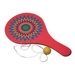 "The Original Toy Company - The Original Toy Company Paddle Ball - Solid wood construction. Silk screen design. Shrink wrapped with pegable hook. Size: 10.62""Lx 5""Wx 0.81""H. Ages 5 years plus. Warning: May contain Small Parts."