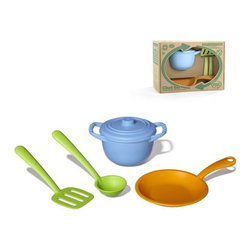 Green Toys - Green Toys Chef Set - If your kiddos just love to help out in the kitchen, treat them to hours of culinary fun with the Green Toys Chef Set! The ultimate in eco,friendly play, the set is made from recycled milk jugs that have been processed into high,density polyethylene.