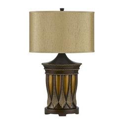 Cal Lighting - Cal Lighting BO-2351TB Aroka 1 Light Pedestal Base Table Lamp - Features: