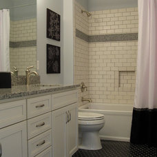 Farmhouse Bathroom by Kristin Petro Interiors, Inc.