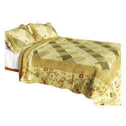 Blancho Bedding - Garden City 3PC Vermicelli-Quilted Striped Patchwork Quilt Set  Full/Queen - Set includes a quilt and two quilted shams (one in twin set). Shell and fill are 100% cotton. For convenience, all bedding components are machine washable on cold in the gentle cycle and can be dried on low heat and will last you years. Intricate vermicelli quilting provides a rich surface texture. This vermicelli-quilted quilt set will refresh your bedroom decor instantly, create a cozy and inviting atmosphere and is sure to transform the look of your bedroom or guest room. Dimensions: Full/Queen quilt: 90 inches x 98 inches  Standard sham: 20 inches x 26 inches.