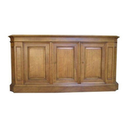 Traditional Baker Sideboard - Elegant sideboard in honey colored fruitwood by Bakers' Milling Road line. Beautifully detailed and in wonderful condition, the perfect storage solution for fine china and silver. This one arrived just in time for the Holidays!
