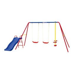 Grow 'n Up - Heracles III Swing Set - Features: -Set include with 5.5' wavy slide, 2 single swings, 2 seat glider, anchors. -Assembly required. -For ages 3 - 10 years.