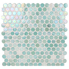 Transitional Tile Ocean Circles Green Pool Glossy & Iridescent Glass