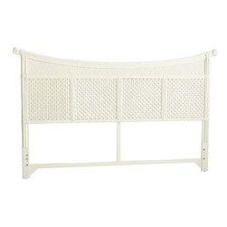 Senopati Headboard, Antique White - We love the use of bamboo, rattan and mahogany in this antique-looking headboard.