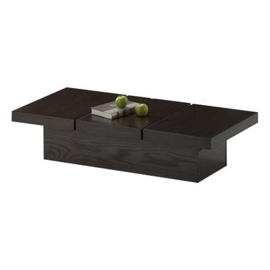 Baxton Studio - Baxton Studio Cambridge Brown Wood Modern Coffee Table with Hidden Storage - Our spectacularly-featured Cambridge Coffee Table starts with architectural design inspiration and finishes with practicality for the everyday family. The decidedly modern table has the appeal of an expensive designer piece. Slide the left and right top sections outward and you will be able to store magazines, remote controls, and more. Construction consists of a MDF and particleboard frame with dark brown rubber wood veneer. To clean, wipe with a dry cloth. Made in Malaysia; assembly is required.