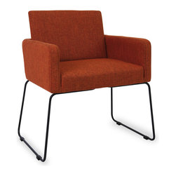 Bryght - Delma Russet Dining Armchair - Clean, modern and dressy, the Delma dining armchair brings a trendy element to the table. A comfortable upholstered seat perfectly offsets sleek metal legs. Choose from a variety of colors for that perfect pop of color.