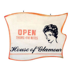 """Used Vintage House of Glamour Trade Sign - We love this trade/folk vintage hand lettered solid wood sign. Blue-eyed beauty advertising for """"House of Glamour Open Thurs. & Fri. Nites"""". Signed on the bottom right conrer """"Carter""""."""