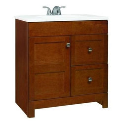 """American Classics by RSI - American Classics by RSI PPARTCHT30DY Chestnut Artisan Artisan 30-1/2"""" - Vanity Package Includes:Vanity cabinet constructed of hardwood materialNatural stone vanity / counter topSingle basin bathroom sinkVanity Cabinet Features:Constructed of hardwood materialVanity features 2 full extension drawers providing ample concealed storage space – drawers operate on smooth ball-bearing glidesVanity features 1 full sized cabinet with matching doors providing ample storage spaceThis model is a complete package - base and top are includedComplete with matching decorative hardwareVanity is crated and shipped fully assembledSolid construction and assembly provides years of reliable performanceVanity Top Features:Vanity top is constructed of natural stone provides a sturdy feel and clean appearanceTop features a recessed single basin bathroom sinkCenter drain location provides optimal draining capabilityFaucet and waste assembly not included with this model - must be purchased separatelySturdy mounting assembly – ensuring safety and reliabilityAll hardware needed for installation is includedVanity Cabinet Specifications:Overall Height: 34-1/2"""" (measured from ground level to highest point on vanity)Overall Width: 30-1/2"""" (measured from left most to right most part on vanity)Overall Depth: 19"""" (measured from back most to front most part on vanity)Mounting Style: FreestandingNumber of Drawers: 2Number of Doors: 1Vanity Top Specifications: Overall Width: 30-1/2"""" (measured from left edge to right edge of vanity top)Overall Depth: 19"""" (measured from back edge to front edge of vanity top)Sink Included: YesDrain Outlet Connection: 1-1/2"""""""